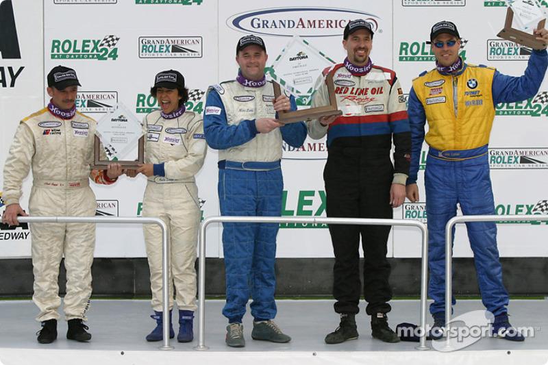 ST podium: class winners John Schmitt and Mike Liebl, with Anita Sangi and Neal Sapp, Will Turner and Don Salama