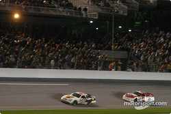 Dale Jarrett leads Dale Earnhardt Jr. to the checkered flag