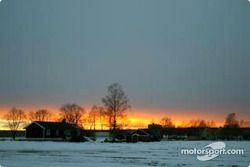 Un coucher de soleil au-dessus de la Suède