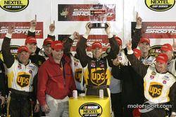 Victory lane: Dale Jarrett celebrates win with his team
