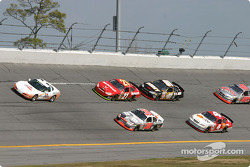Pace lap: Elliott Sadler and Ricky Rudd leads the field