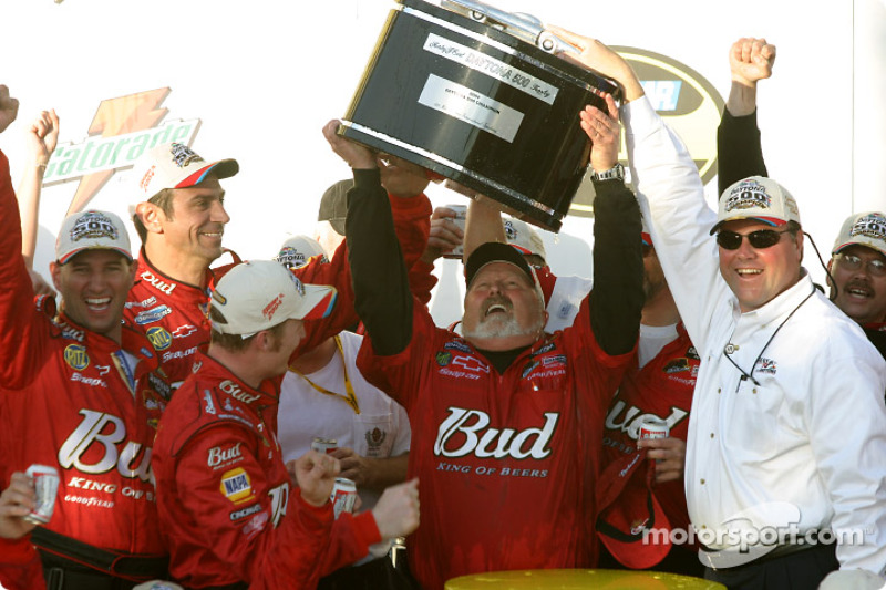 Crew chief Tony Eury celebrates with Dale Earnhardt Jr.