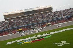 Green flag: Ryan Newman takes the lead