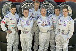 Les pilotes Audi Sport UK Team Veloqx Pierre Kaffer, Allan McNish, Frank Biela, Johnny Herbert, Jami