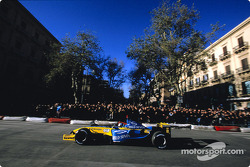 Jarno Trulli does a demonstration run in front of the fans in Palermo