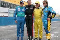 Giancarlo Fisichella, Gianmaria Bruni, Giorgio Pantano et Jarno Trulli