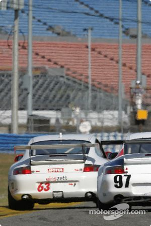 #63 Glenn Yee Motorsports Porsche GT3 Cup: Hugh Plumb, Geoff Escalette, Kim Wolfkill, Mike Lewis, and #97 Graham Nash Motorsport Porsche GT3 RS: Robert Orcutt, Ken Dobson, Kurt Teal, Paul Jenkins