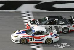 #97 Graham Nash Motorsport Porsche GT3 RS: Robert Orcutt, Ken Dobson, Kurt Teal, Paul Jenkins, and #21 Prototype Technology Group BMW M3: Bill Auberlen, Boris Said, Justin Marks, Joey Hand, Niclas Jonsson
