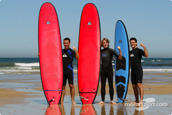 Jordan Quiksilver Surfing: Timo Glock, Nick Heidfeld and Giorgio Pantano  whip out the surfboards on the beach in their Quiksilver clothing