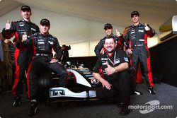 Gianmaria Bruni, Bas Leinders, Zsolt Baumgartner, Tiago Monteiro and Paul Stoddart with the new Mina