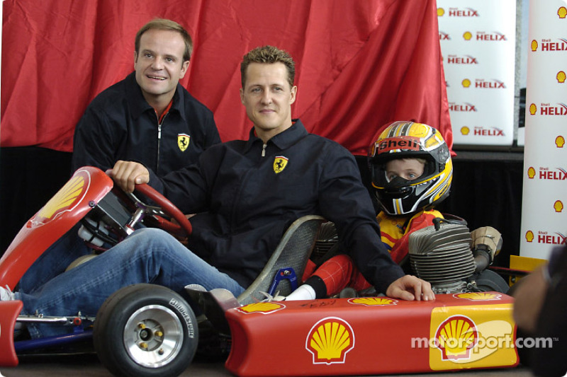 Shell basın toplantısı: Michael Schumacher ve Rubens Barrichello