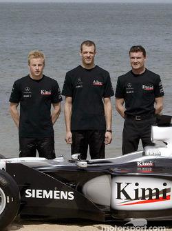 McLaren presentation on a beach near Melbourne: Kimi Raikkonen, Alexander Wurz and David Coulthard