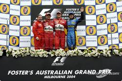 Podio: ganador de la carrera Michael Schumacher con Jean Todt, Rubens Barrichello y Fernando Alonso