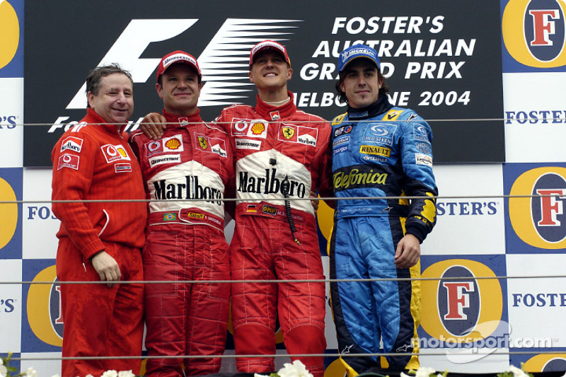 2004: 1. Michael Schumacher, 2. Rubens Barrichello, 3. Fernando Alonso