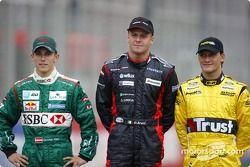 Los novatos de 2004: Christian Klien, Gianmaria Bruni y Giorgio Pantano