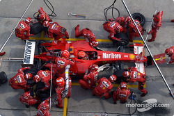 Ferrari pit crew waits for Michael Schumacher