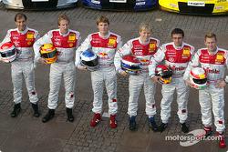 Die Audi-Fahrer 2004: Emanuele Pirro, Frank Biela, Martin Tomczyk, Mattias Ekström, Christian Abt un