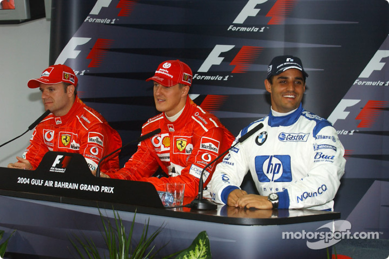 Post-qualifying press conference: pole winner Michael Schumacher with Rubens Barrichello and Juan Pa