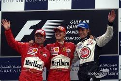 Podium: Sieger Michael Schumacher mit Rubens Barrichello und Jenson Button