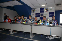 Press conference: race winners Stéphane Chambon, Keiichi Kitagawa, Warwick Nowland, with Sébastien Gimbert, William Costes, David Checa, and #38 Endurance Moto 38 Yamaha R1: Gwen Giabbani, Stéphane Duterne, Jean-Michel Louis