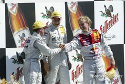 Podium: race winner Gary Paffett with Christijan Albers and Mattias Ekström