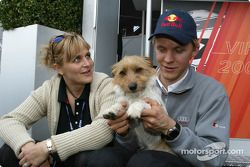 Mattias Ekström with girlfriend Tina and dog Moss