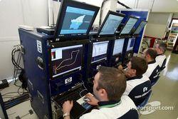 Williams-BMW mühendiss get ready for San Marino GP telemetry area