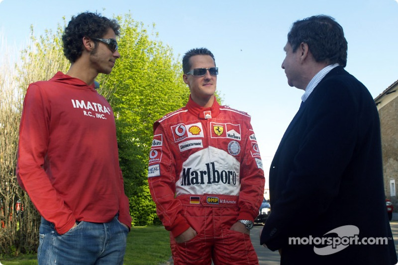 Valentino Rossi at Fiorano with Michael Schumacher and Jean Todt