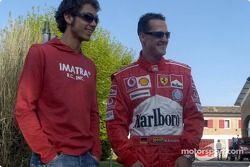 Valentino Rossi visite le circuit de Fiorano : Valentino Rossi et Michael Schumacher