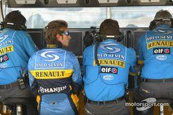 Jarno Trulli sur le muret des stands de Renault F1