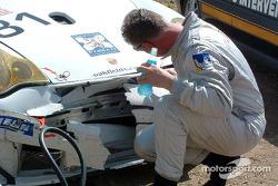 Accident for #81 The Racers Group Porsche 911 GT3 RSR: Lars Erik Nielsen, Ian Donaldson, Gregor Fisken