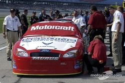 Ricky Rudd's car undergoes final checks from NASCAR official