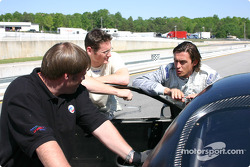 Panoz Esperante GT-LM test: David Saelens with Gunnar Jeannette and team manager Andy Waldrep
