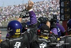 The Roush Racing crew celebrates Greg Biffle's victory