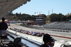 A shot from the new grandstand garage area looking down at the Historic Stock Car Race
