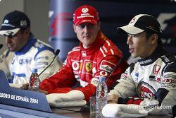 Press conference: pole winner Michael Schumacher with Juan Pablo Montoya and Takuma Sato