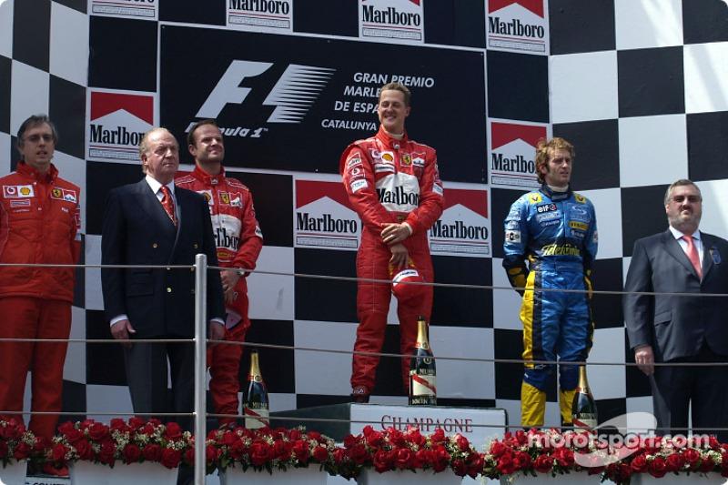 2004: 1. Михаэль Шумахер, 2. Рубенс Баррикелло, 3. Ярно Трулли