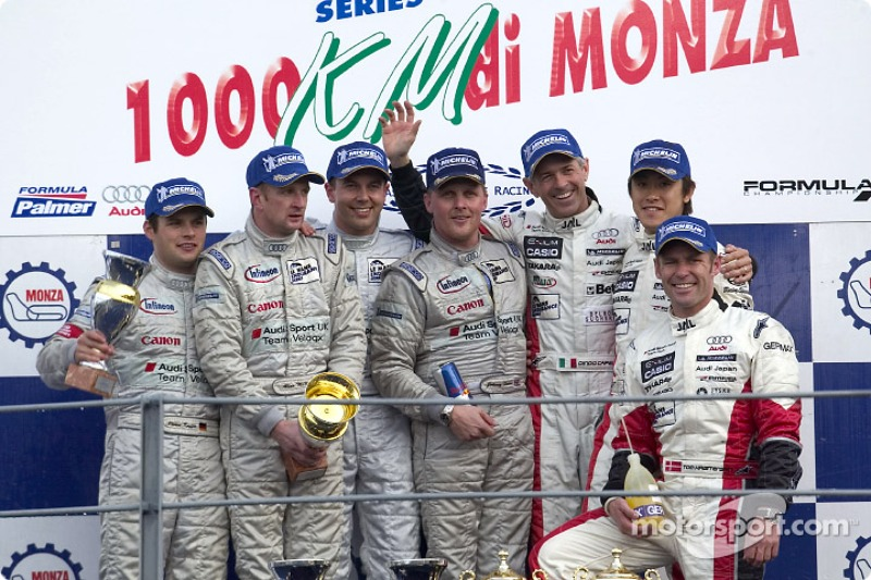 Podium: race winner Jamie Davies, Johnny Herbert, with Allan McNish, Pierre Kaffer, and Tom Kristensen, Seiji Ara, Rinaldo Capello