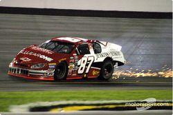 Joe Nemechek leaves a trail of sparks