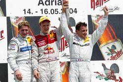 Podium: 1. Mattias Ekström, Team Abt Sportsline, Audi A4 DTM 2004; Christijan Albers, Team HWA, AMG-