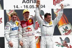 Mattias Ekström avec Christijan Albers et Jean Alesi sur le podium