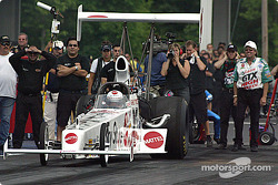 John Force watches Ashley Force