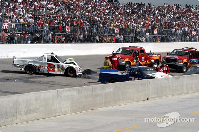 The wrecked trucks of Chase Montgomery and Joe Aramendia