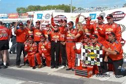 Jack Sprague and the IWX team celebrate their inaugural Ohio 250 win