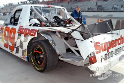 Damage to Carl Edwards' truck