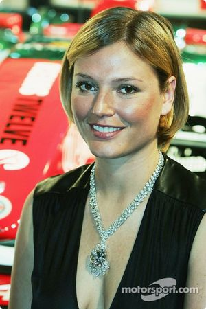 Jaguar Racing and Steinmetz present the Diamond Jaguar R5: supermodel Bridget Hall poses with a Stei