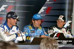Press conference: pole winner Jarno Trulli with Ralf Schumacher and Jenson Button
