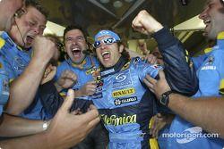 Jarno Trulli celebrates pole position