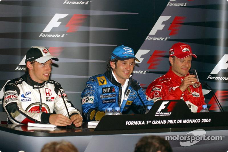 Conferencia de prensa: ganador de la carrera Jarno Trulli, Jenson Button y Rubens Barrichello