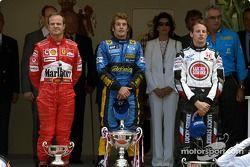 Podium: race winner Jarno Trulli with Jenson Button and Rubens Barrichello